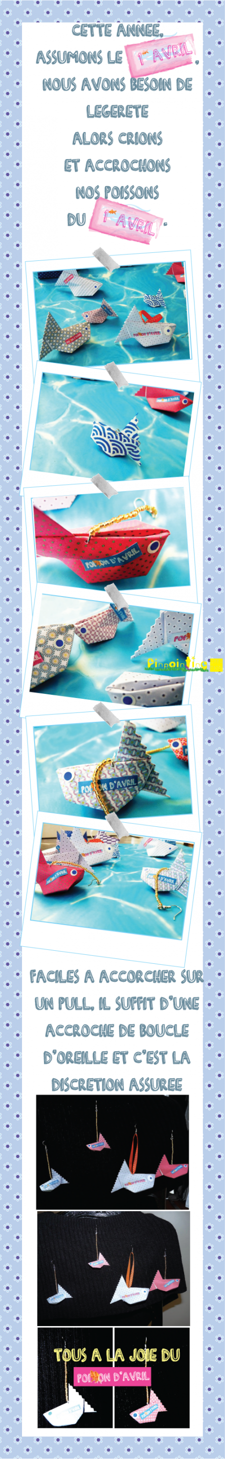 poisson d'avril, origami, gonflable, bijoux , pull