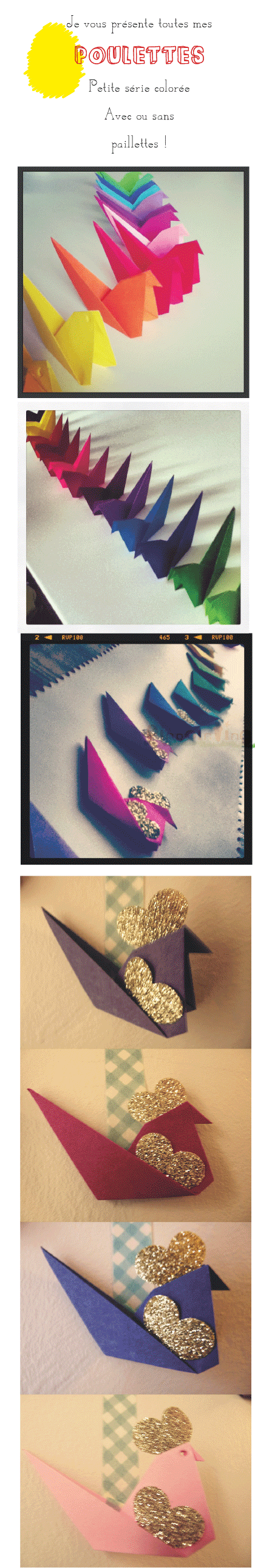 origami, poule, facile, pinpointing