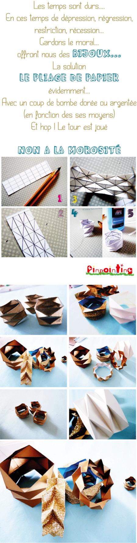 bijoux, papier, pliage, folding, origami, pinpointing
