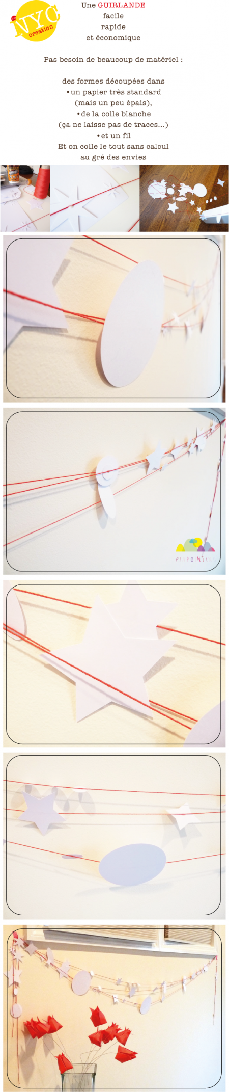 guirlande, papier, décor, diy, pinpointing, facile