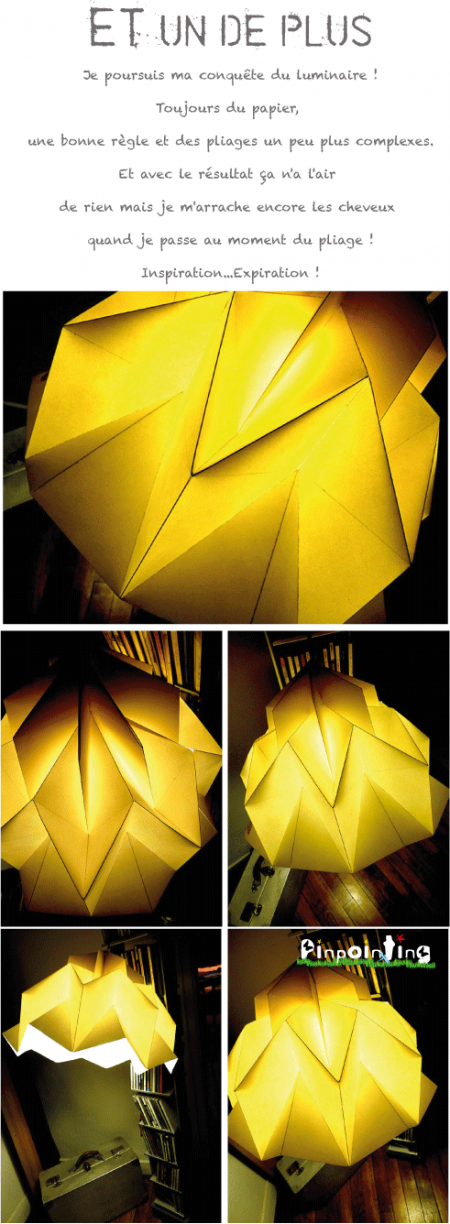 pliage papier, luminaire, origami, pinpointing